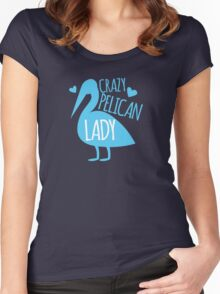 Crazy pelican (bird) Lady Women's Fitted Scoop T-Shirt