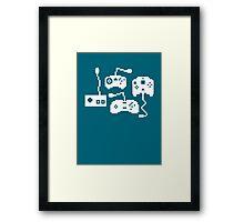 Pixel History - Sega Controllers (White) Framed Print