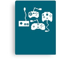 Pixel History - Sega Controllers (White) Canvas Print