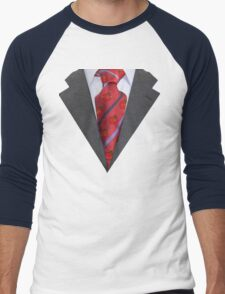 Suit with red tie Men's Baseball ¾ T-Shirt
