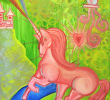 Pink Unicorn Spewing Rainbows and Hearts by megansnyder