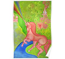 Pink Unicorn Spewing Rainbows and Hearts Poster