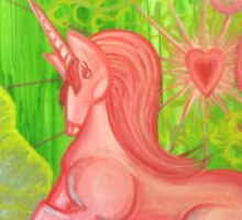 Pink Unicorn Spewing Rainbows and Hearts Sticker