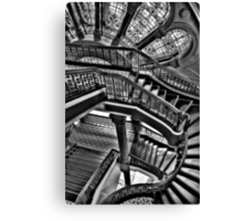 Old Style Workmanship  (Monochrome Version) - The Grand Staircase, Queen Victoria Building - The HDR Experience Canvas Print