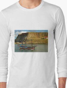 Bark Endeavour Passing Whitby East Cliff Long Sleeve T-Shirt
