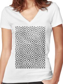 Checker Texture Women's Fitted V-Neck T-Shirt