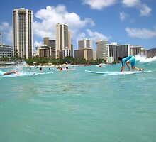 Surf At Waikiki by enkayes