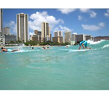 Surf At Waikiki Photographic Print