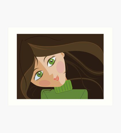 Green eyes portrait Art Print