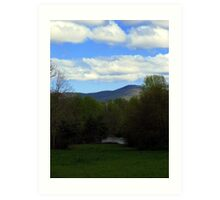 Majestic mountains over looking  a Tranquil pond. Art Print