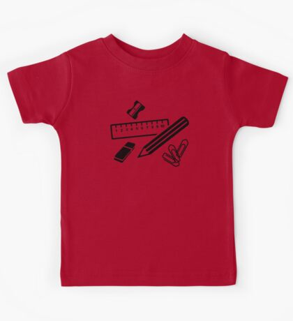 Pencil ruler paper clip eraser Kids Tee