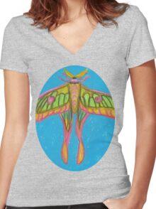 pastel moth Women's Fitted V-Neck T-Shirt