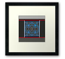 MODERN ABSTRACT, red, white, blue, black, grey, gray Framed Print