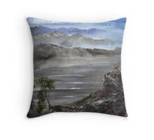 The Misty Landscape - Distant Mountians  Throw Pillow