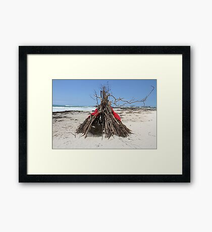 Diftwood Teepee Framed Print