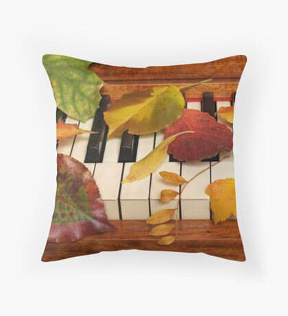 Autumn Leaves Tickle the Ivories Throw Pillow
