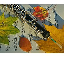 Sunlit Oboe and Sheet Music in Autumn Photographic Print