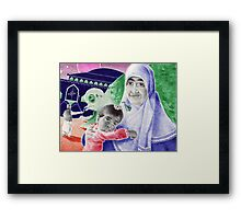 Bic Ball Point Pen Drawing: Compassion on a Pakistani Galactic Scale Framed Print