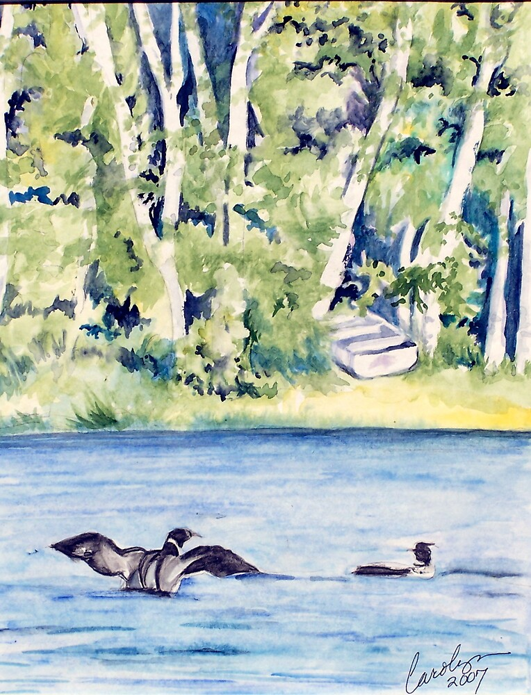 Loons on Lake Clara by Carolyn Bishop