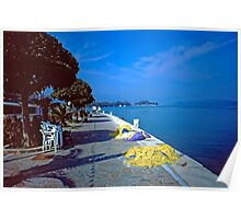 Seafront with Yellow Nets, Island of Hydra, Greece Poster