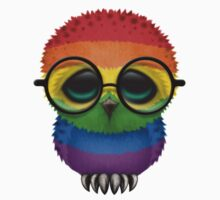 Nerdy Gay Pride Rainbow Baby Owl on a Branch Kids Clothes