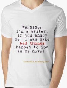 Warning: I'm A Writer Mens V-Neck T-Shirt