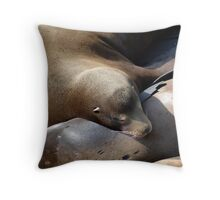 Sea Lions - Newport, Oregon Throw Pillow