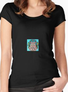 stain glass owl in blue  Women's Fitted Scoop T-Shirt