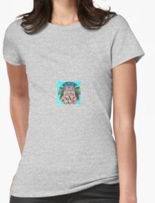 stain glass owl in blue  Womens Fitted T-Shirt