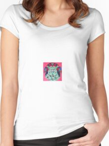 stain glass owl in red Women's Fitted Scoop T-Shirt