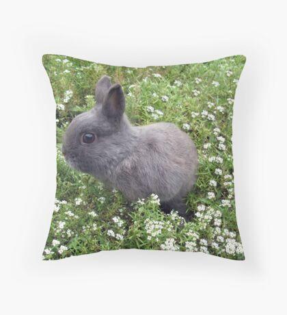 Bunny in Sweet Heaven Throw Pillow