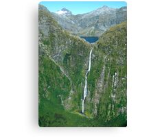 Sutherland falls and Lake Quill MIlford South Island New Zealand Canvas Print
