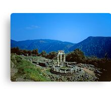 Remains of the Shrine of Athena and the Tholos, Delphi, Greece Canvas Print
