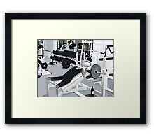 Corky @ the Gym Framed Print