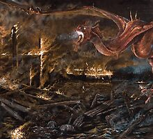 Burning of Laketown. (Tolkien;  The Hobbit) 2004. Acrylic on board.  by Charles  Burggraf