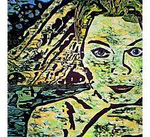 Reflective Girl - WOODCUT PRINT Photographic Print
