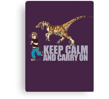 (Dino) Keep Calm and Carry On Canvas Print
