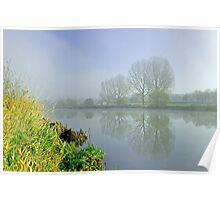 Misty Trees at Waterside, Stapenhill Poster