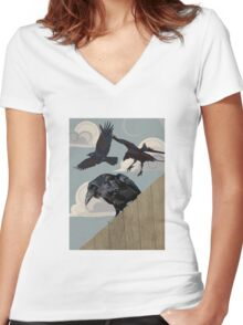 Crow invasion Women's Fitted V-Neck T-Shirt