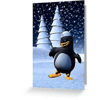 Dancing Penguin Greeting Card