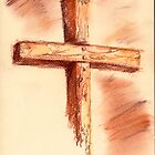 conte sketch of the cross by Jan Stead JEMproductions