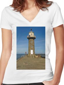 Disused East Pier Lighthouse, Whitby Women's Fitted V-Neck T-Shirt