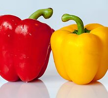 Red and yellow peppers by franceslewis