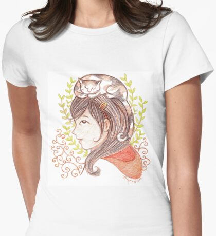 Sleeping Calico Cat Womens Fitted T-Shirt