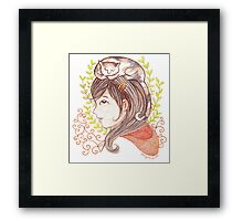 Sleeping Calico Cat Framed Print