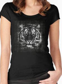 Tiger Vintage Burlap Rustic Jute Women's Fitted Scoop T-Shirt