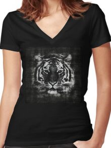 Tiger Vintage Burlap Rustic Jute Women's Fitted V-Neck T-Shirt