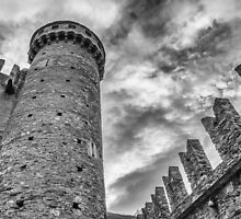 Castle of Fenis, Tower and Wall - Italy by joeschmied