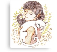 Sleeping White Cat Canvas Print