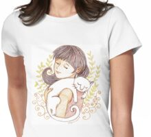 Sleeping White Cat Womens Fitted T-Shirt
